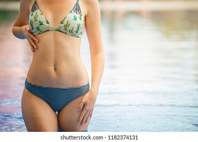 Woman summer fashion. Happy sexy girl with fit body, long legs, Healthy skin in bikini on travel holidays vacation. beauty, wellness, lifestyle
