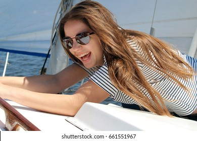 woman summer smiling sunglasses water
