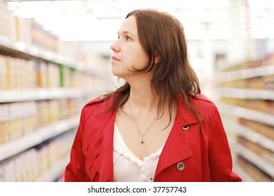 Woman in a super market