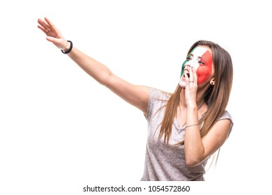 woman supporter fan of Mexico national team painted flag face get happy victory screaming pointed hand.