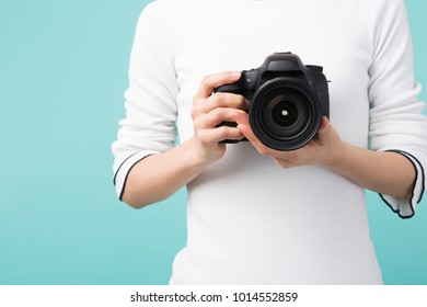 woman surrounded by cameras