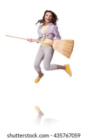 Woman sweeping floor isolated on white