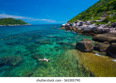 Woman swimming in the crystal sea, Koh Tao,Suratthani  Thailand