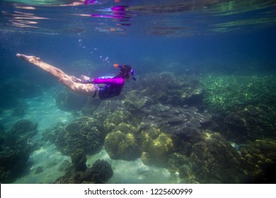 Woman swimming in water, Beautiful woman under water before dive to coral reef, woman snorkeling in blue mask, snorkel woman face in mask, tropical sea snorkeling, summer vacation activity
