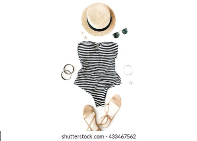 woman swimsuit beach accessories collage on white background, flat lay, top view