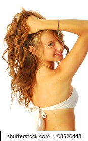 Woman in swimsuit - A young woman in white swimsuit 139
