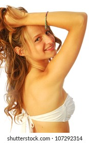 Woman in swimsuit - A young woman in white swimsuit 145