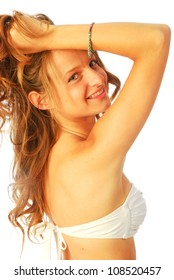 Woman in swimsuit - A young woman in white swimsuit 145 bis