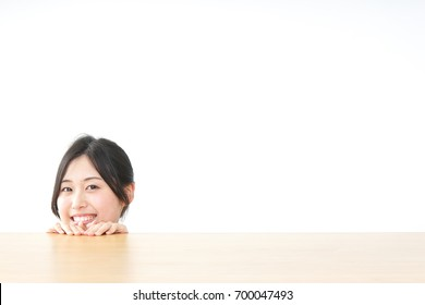 woman with table