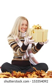 woman take autumn gift isolated in studio