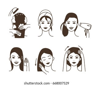 Woman take care about her hair. Different hair care procedures.