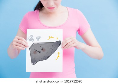 woman take cirrhosis liver billboard on the blue background