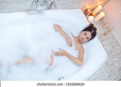 Woman takes bathroom