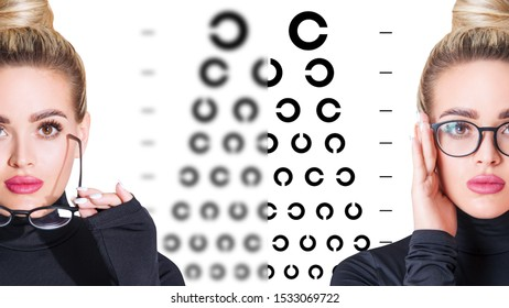 Woman takes off glasses and eye chart become blurred and then clear. Ophthalmologist consultation.