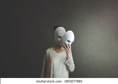woman takes off the mask from her face but underneath her she has another mask, concept of hiding one's soul and oneself