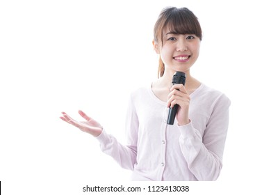 Woman talking with microphone