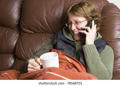 Woman talking on wireless phone
