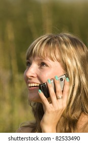 Woman  talking  phone  nature