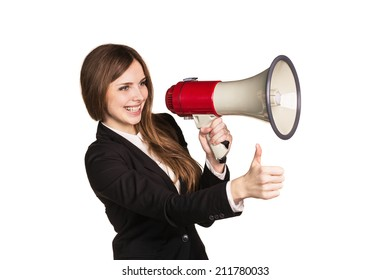 Woman talking through a megaphone - isolated over a white background