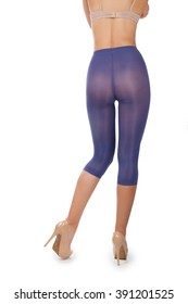f0092739f76dd Woman tall legs with blue purple violet short stockings leggings tights  pantyhose without panties isolated on