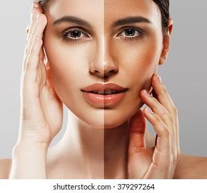 Woman tan half-face beautiful portrait spray