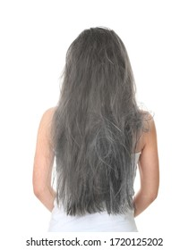 Woman with tangled gray hair on white background, back view