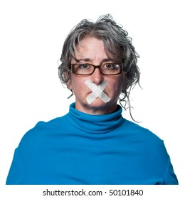 Woman with tape across her mouth, being silenced