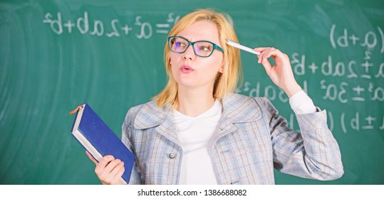 Woman teacher with book in front of chalkboard think about work. Cognition process of acquiring knowledge through thoughts. Cognition process in learning. Teach cognition processing strategies.