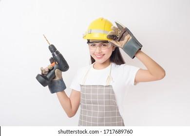woman technician portrait on white background