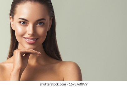 Woman teeth smile healthy beauty female natural skin cosmetic concept young model with beautiful smile
