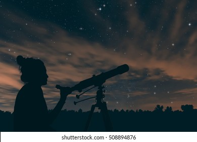 Woman with telescope. Night sky, with clouds and constellations, Aquarius, Aquila, Scutum, Ophiuchus, Serpens, Sagittarius, Capricornus.