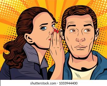Woman telling secret to man. Gossip and rumors talks. Illustration in retro comic style.