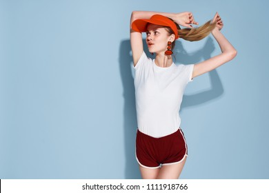 f32f8e9b205 Portrait of happy lifeguard woman girl in red cap with ratownik sign on blue.  Accident prevention rescue. Edit. Artist. Similar. Save. woman in tennis cap  ...