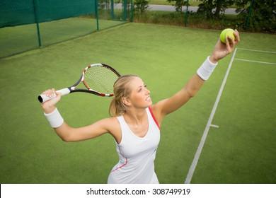 Woman in tennis practice