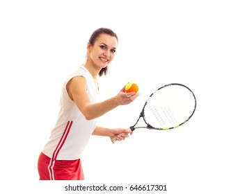 Woman with tennis racquet and ball