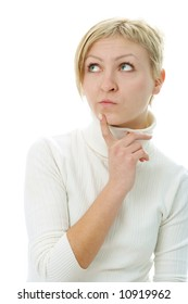 woman think  on white background