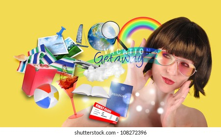 A woman is thinking about a beach travel vacation with various icons such as a suitcase, passport, towel and rainbow.