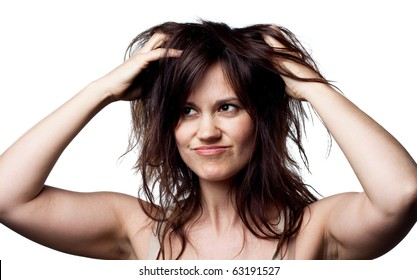 Woman thinking about her hair