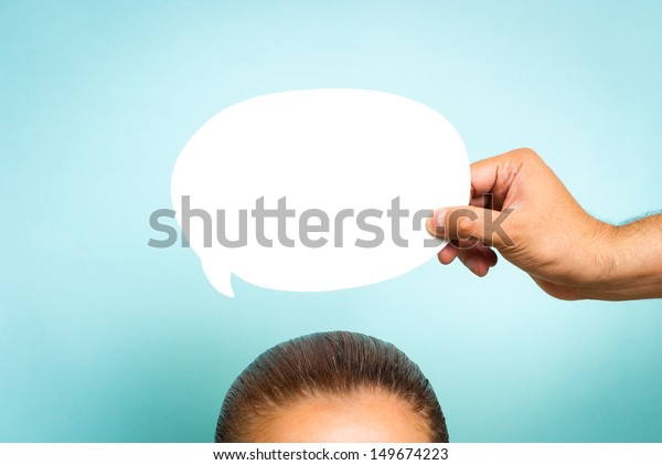 Woman thinking concept on blue background. Mindfulness concept.