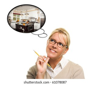Woman with Thought Bubbles of a New Kitchen Design Isolated on a White Background.