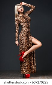 woman in tiger dress on black background