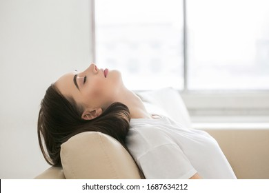 Woman tired home relax female home casual portrait
