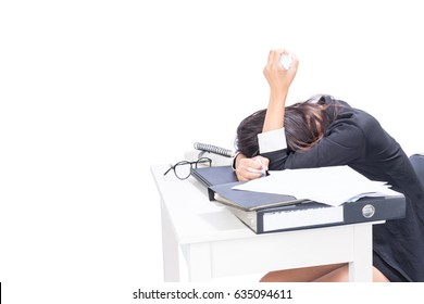 Woman tired of office work. Isolated on white background