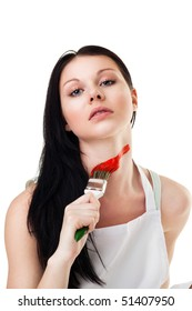 Woman tired from renovation and painting crossing neck with red line