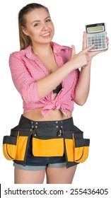 Woman in tool belt holding and pointing at calculator, looking at camera, smiling. Isolated on white background
