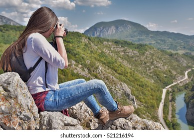 The woman at the top of the mountain photograph nature