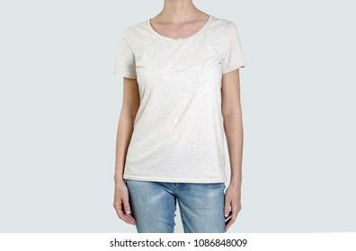 Woman torso in basic blank cotton t shirt