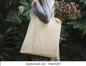 Woman with tote bag