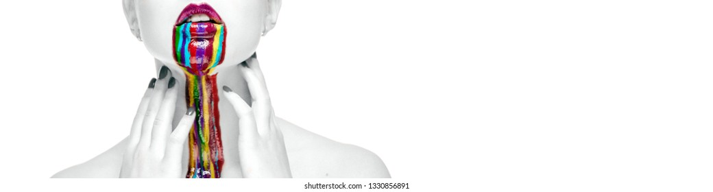 Woman touch neck isolated on white background, creative bright make-up multicolored paint dripped down drained the naked body. Black and white photo colorful vibrant elements, copyspace for text or ad