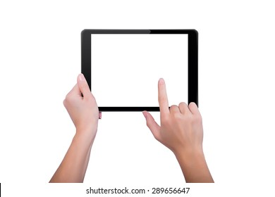 Woman touched the screen of the tablet